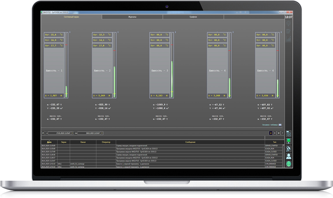 мнемосхемы и главные экраны операторских панелей и SCADA-системы